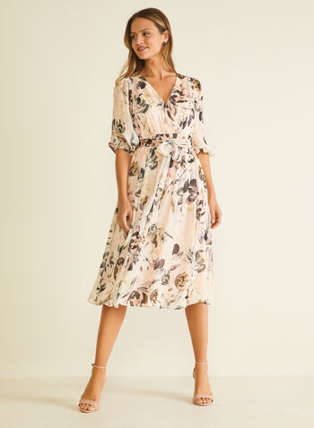 Floral Print Balloon Sleeve Dress, Pink,  day dress, balloon sleeves, floral, chiffon, wrap, spring summer 2020