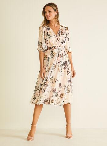 Robe fleurie en mousseline et manches ballon, Rose,  robe de jour, manches ballon, fleurs, mousseline, printemps été 2020