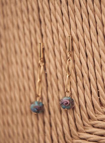 Bead Dangle Earrings, Blue,  spring summer 2021, jewellery, jewelry, accessories, earrings, oval link, dangle, bead, bead dangle, bead pendant