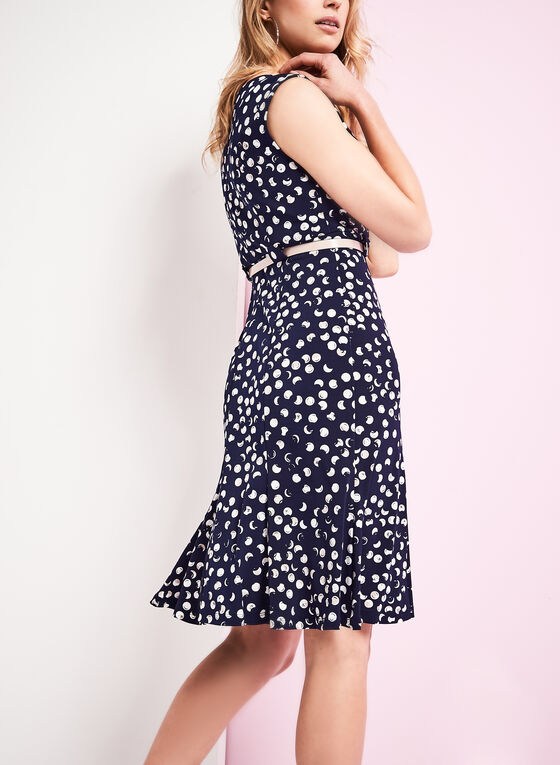 Jersey Belted Polka Dot Dress, Blue, hi-res
