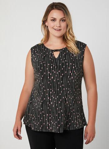 Abstract Print Sleeveless Top, Black, hi-res,  Sleeveless blouse
