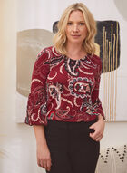 Paisley Top With Puffed Sleeves, Black