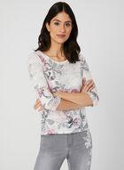T-shirt fleurs et rayures à détails strass, Multi, hi-res
