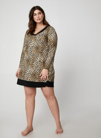 Leopard Print Nightgown, Brown, hi-res,  canada, nightgown, sleepwear, pyjama, leopard print, print nightgown, fall 2019, winter 2019