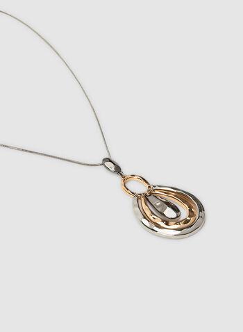 Collier long à pendants gouttes, Jaune, hi-res,  collier, goutte, trois tons, maille serpent, automne hiver 2019