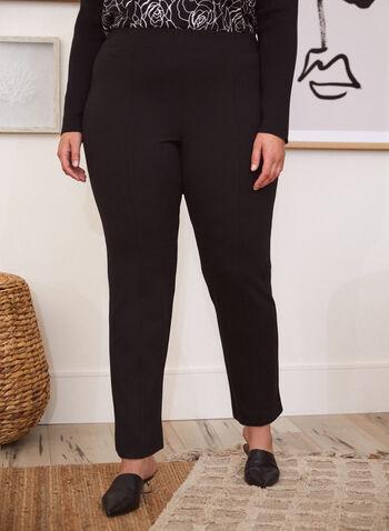 Pantalon coupe moderne à jambe droite , Noir,  pantalon, bas, coupe moderne, pull-on, à enfiler, pinces, jambe droite, taille mi-haute, automne 2021
