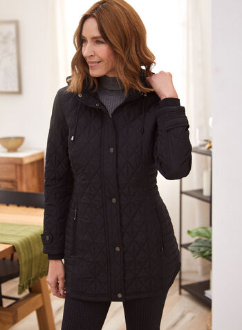 Hooded Diamond Quilted Coat, Black,  coat, jacket, detachable hood, drawstring, knit cuffs, zip front, snap placket, quilted, diamond pattern, fall winter 2021