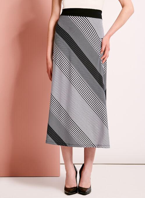 Graphic Stripe Print Midi Skirt, Blue, hi-res