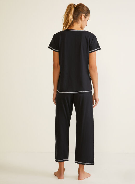 Contrast Stitch Pyjama Set, Black