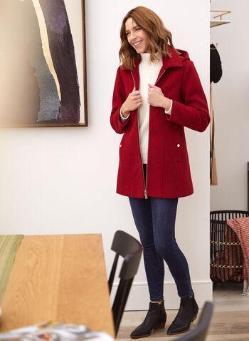 Manteau en laine mélangée à capuchon amovible, Rouge,  exclusivité laura, col à revers, manteau, vêtement d'extérieur, capuchon amovible, bouton, manches longues, fermeture éclair apparente, poches fendues, découpe princesse, semi-ajusté, confortable, extensible, chaud, laine mélangée, doublure en satin brossé, automne hiver 2021, chic, élégant