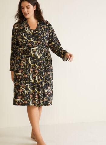Robe de nuit et peignoir à motif paisley , Noir,  robe de nuit, vêtements de nuit, chemise de nuit, paisley, automne hiver 2020