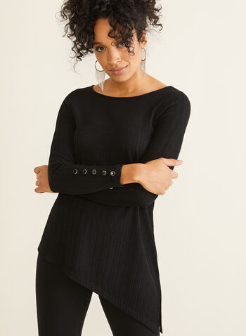 Asymmetrical Tunic Top, Black,  Canada, top, tunic, ribbed, asymmetrical, long sleeves, fall 2019, winter 2019