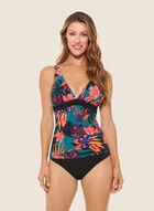 Christina - Tropical Print Two-Piece Swimsuit, Black