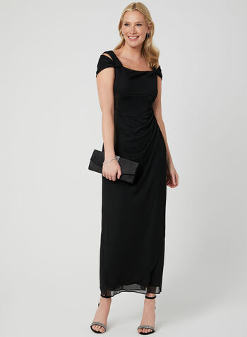 Alex Evenings - Mesh Cold-Shoulder Dress, Black, hi-res