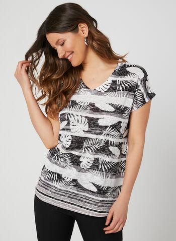 Palm Print Burnout T-Shirt, Black, hi-res,  short sleeves, burnout, drop shoulder, embellished, crystals, summer 2019