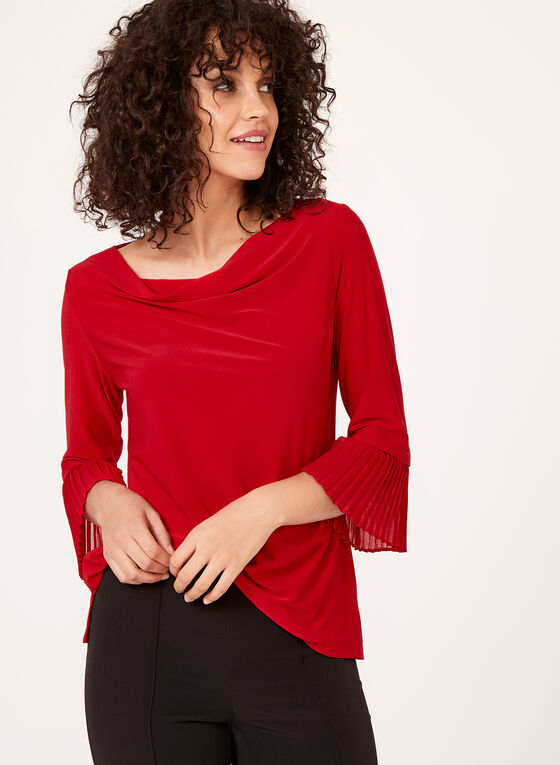 Pleated Bell Sleeve Blouse , Red, hi-res