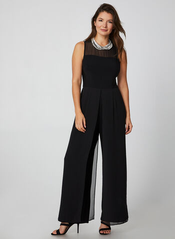 Sleeveless Chiffon Jumpsuit, Black,  sleeveless jumpsuit, sleeveless, wide-leg, wide-leg jumpsuit, chiffon, fall 2019, winter 2019
