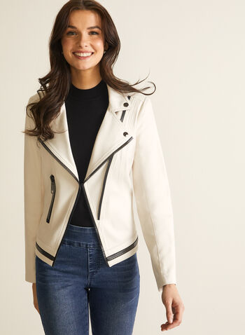 Vex - Contrast Zipper Faux Leather Jacket, Off White,  jacket, faux leather, zipper, contrast, notch collar, shoulder pads, long sleeves, spring summer 2020
