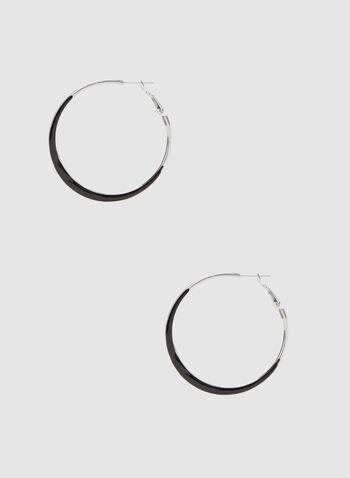 Enamel Hoop Earrings , Black, hi-res,  hoop earrings, fall winter 2019
