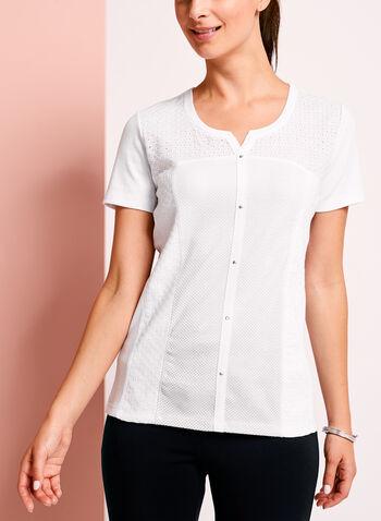Eyelet Lace Embellished Cotton T-Shirt, White, hi-res