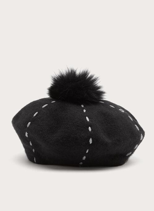 Fur Pompom Wool Hat, Black, hi-res