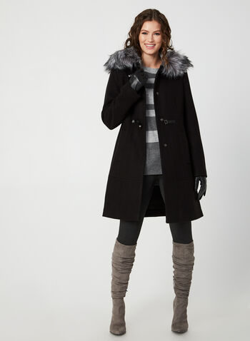 Faux Fur Trim Coat, Black,  coat, long sleeves, wool blend, hood, faux fur, toggle, fall 2019, winter 2019