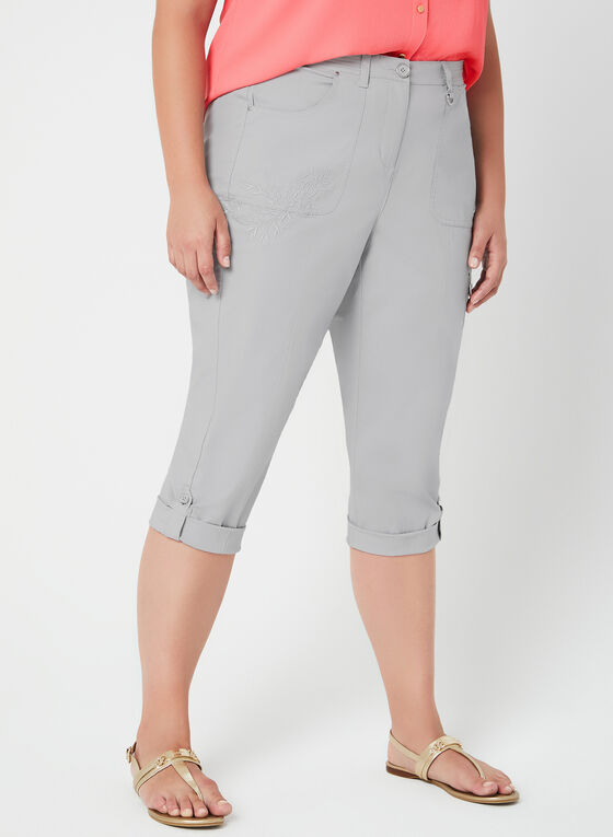 Modern Fit Capri Pants, Grey