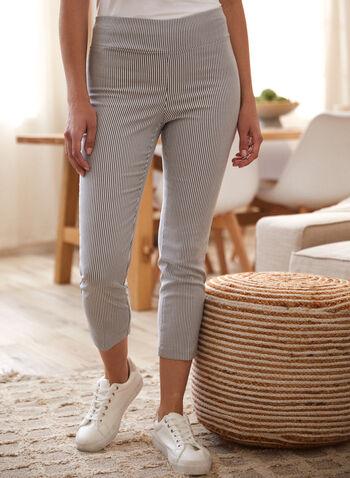 Stripe Print Pull-On Capris, Grey,  capris, pull-on, stripe print, slim leg, spring summer 2020