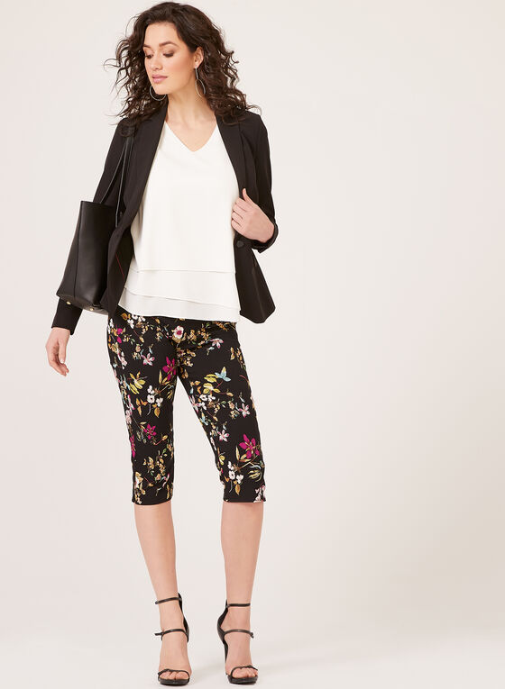 Floral Print Pull-On Capri Pants, Grey