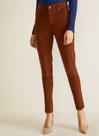 Corduroy Straight Leg Denim Pants, Brown,  fall winter 2020, straight leg, pocket, zipper, button, corduroy, denim, jeans, pants, comfort