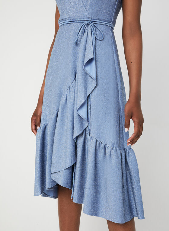 Robe pailletée sans manches, Bleu