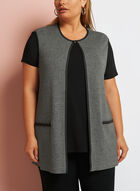 Sleeveless Heather Cardigan, Black, hi-res