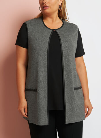 Sleeveless Heather Cardigan, , hi-res