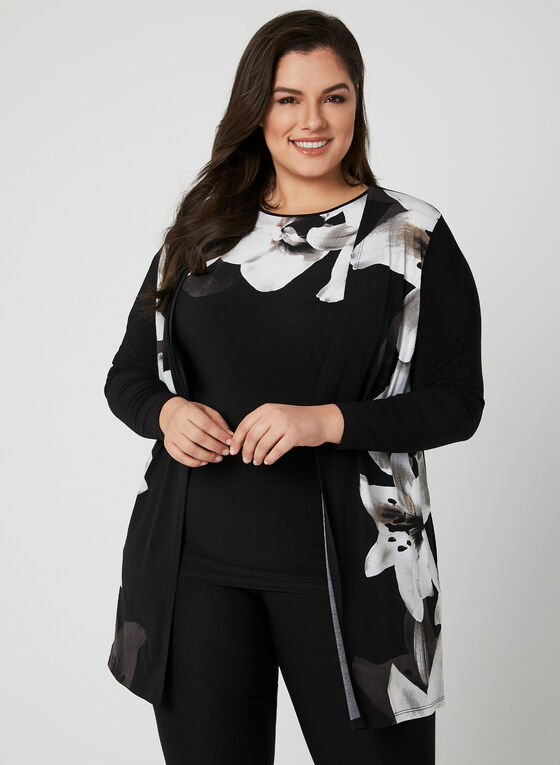 Floral Print Open Front Top, Black, hi-res