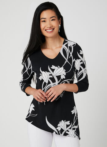 Asymmetric Floral Print Tunic, Black, hi-res,  Spring 2019, 3/4 sleeves, jersey