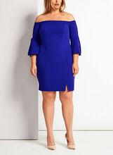 Off The Shoulder Crepe Dress, Blue, hi-res
