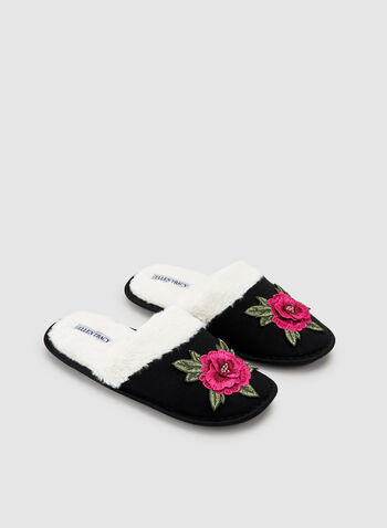 Ellen Tracy - Fleece Trim Slippers, Black, hi-res