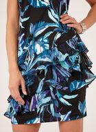 Robe florale avec jupe étagée et volantée, Bleu, hi-res