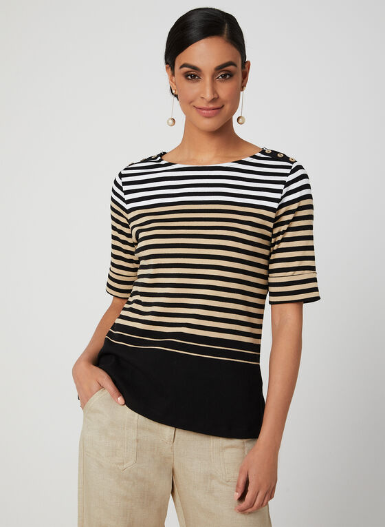 Stripe Print Elbow Sleeve Top, Black