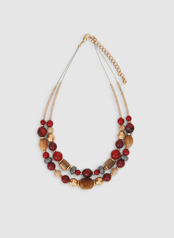 Mixed Bead Necklace, Red,  double chain, mixed, beads, necklace, fall 2019, winter 2019
