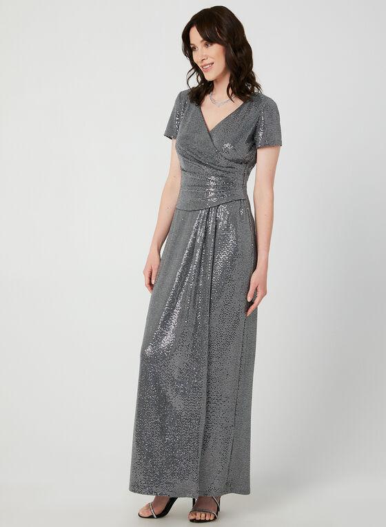 Robe en sequins et fibres métallisées, Argent