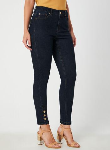 Jeans coupe signature à jambe étroite, Bleu, hi-res,  5 poches, zip, bouton, automne hiver 2019