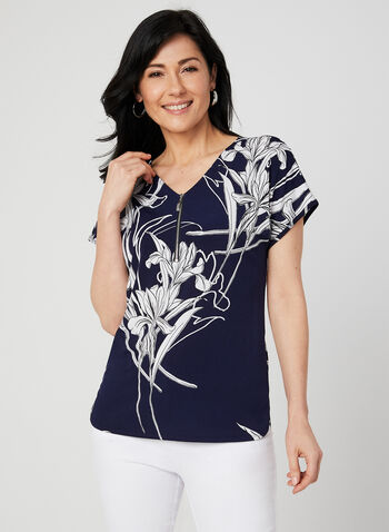 Floral Print Jersey Top, Blue,  jersey, zipper, V-neck, short sleeves, spring 2019, summer 2019