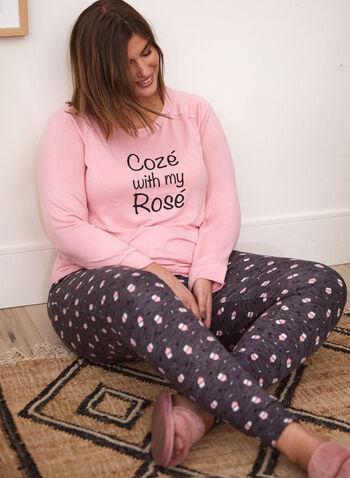 Wine Print Pyjama Set, Pink,  slogan, fall winter 2021, fall 2021, sleepwear, pyjama, pyjama set, pj, sleep, wine, wine print, rose, tee, long sleeve, pants, pull-on, slim leg, elastic waist