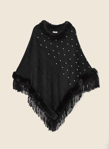 Pearl & Faux Fur Poncho, Black,  poncho, faux fur, fringe, pearls, fall winter 2020