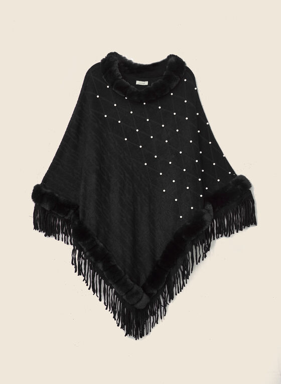 Pearl & Faux Fur Poncho, Black
