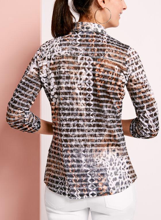 Chemisier en coton motif animal à rayures, Brun, hi-res