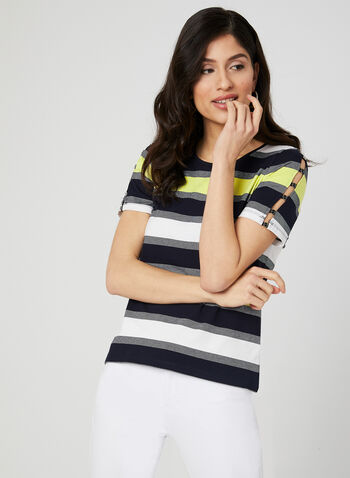 Stripe Print T-Shirt, Blue,  short sleeves, stretchy, scoop neck, spring 2019