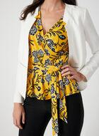 Floral Print Faux Wrap Top, Yellow, hi-res