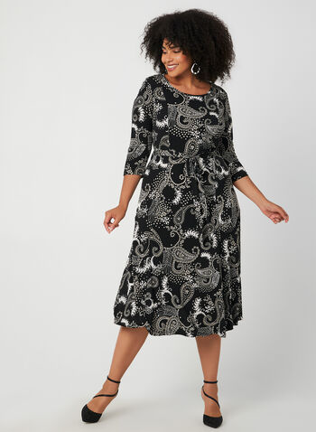 Paisley Print Long Jersey Dress, Black, hi-res,  jersey, floral and paisley print, long dress, fit and flare, fall 2019, autumn 2019